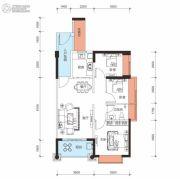 鑫月城3室2厅1卫87平方米户型图