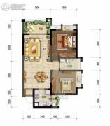 棠湖泊林城2室2厅1卫78平方米户型图
