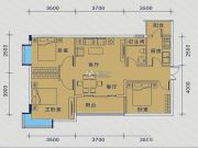 御�Z华庭3室2厅1卫81平方米户型图