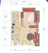 蓝钻寓见1室1厅1卫40--41平方米户型图