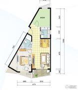 阳光100国际新城2室2厅1卫74平方米户型图