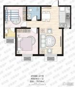 家合园二期2室2厅1卫73平方米户型图