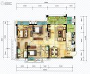 仟坤国际广场天悦3室2厅2卫122平方米户型图