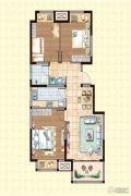 荣盛龙湖半岛3室2厅1卫91平方米户型图