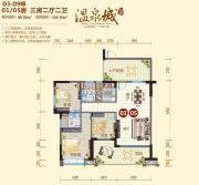 阳西温泉城3室2厅2卫126平方米户型图