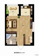 时尚派1室1厅1卫24平方米户型图