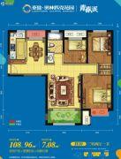 奥林匹克花园3室2厅1卫108平方米户型图