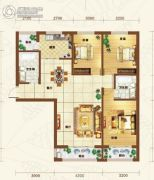 重邦康城3室2厅1卫133平方米户型图