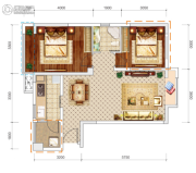 文泰欧城2室2厅1卫74平方米户型图