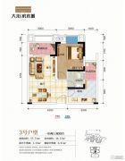 大川滨水城1室2厅1卫46平方米户型图