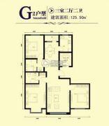 鑫大成・御龙湾3室2厅2卫125平方米户型图