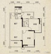 翡翠绿洲2室2厅1卫97平方米户型图