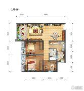 长嘉汇2室2厅1卫89平方米户型图