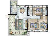 保利林语3室2厅2卫124平方米户型图