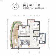 清凤海棠长滩2室2厅1卫65平方米户型图