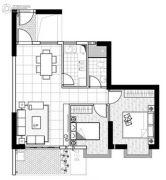 聚镇2室2厅1卫84平方米户型图