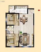 明发锦绣华城2室2厅1卫88平方米户型图