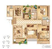 首创悦都3室2厅2卫132平方米户型图
