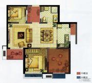 九龙仓时代上城2室2厅2卫89平方米户型图
