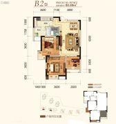 同创金色明天2室2厅1卫80平方米户型图