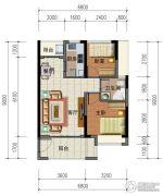 华强城市广场2室2厅1卫71平方米户型图