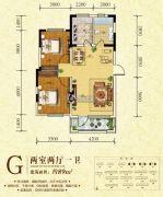 万恒・星河湾2室2厅1卫89平方米户型图
