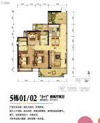 珠海奥园广场2室2厅1卫72平方米户型图