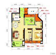 海御新天地2室2厅2卫86--87平方米户型图