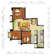 星光华印象3室2厅1卫74平方米户型图