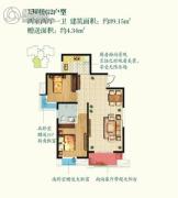 丽彩・珠泉新城2室2厅1卫91平方米户型图