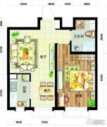 天庆国际新城1室2厅1卫70平方米户型图