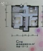 唯美品格新城二期2室1厅1卫58平方米户型图