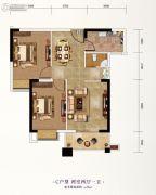 长投珑庭2室2厅1卫76平方米户型图