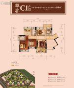星河丹堤花园4室2厅2卫98平方米户型图