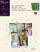 朋鹰紫城3室2厅1卫105平方米户型图