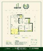 嘉湖美都3室2厅1卫65--80平方米户型图