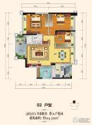 上城铂雍汇3室2厅1卫94平方米户型图