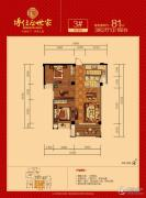 博仕后世家3室2厅1卫81平方米户型图