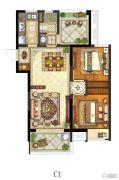 保利中央公园2室1厅1卫88平方米户型图