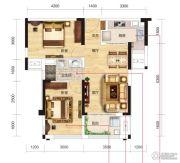 名流世家2室2厅1卫73平方米户型图