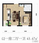 良品柏宏爱琴湾1室2厅1卫43平方米户型图
