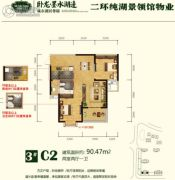 卧龙墨水湖边2室2厅1卫90平方米户型图