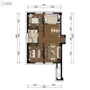 中航国际广场2室2厅1卫90平方米户型图