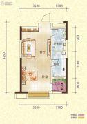 恒大御景半岛2室2厅1卫52平方米户型图