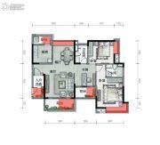 广铝荔富湖畔2室2厅2卫110平方米户型图