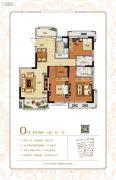保利鑫城3室2厅2卫119平方米户型图