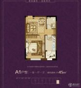 澳海澜苑1室1厅1卫45平方米户型图