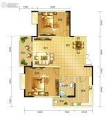 春天印象二期2室2厅1卫85平方米户型图