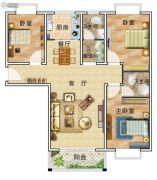 华美国际3室2厅2卫130平方米户型图