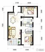 山海城邦・马街摩尔城2室2厅1卫93平方米户型图